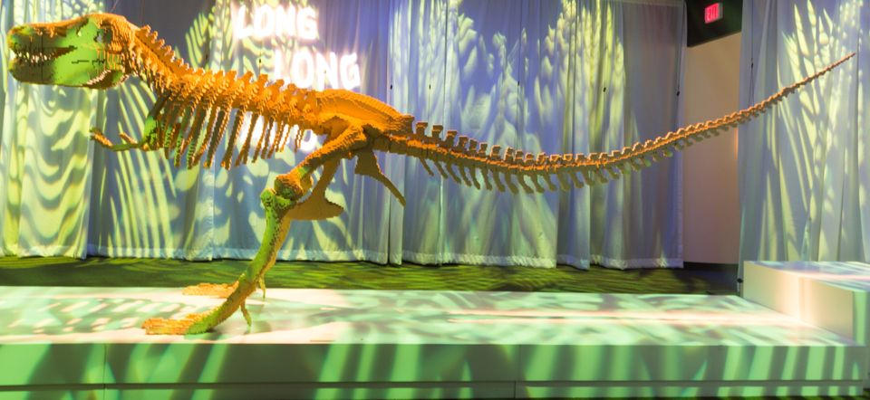 """""""Dinosaur Skeleton"""" from Nathan Sawaya's """"The Art of the Brick"""" exhibit showing at the Discovery Times Square in New York."""