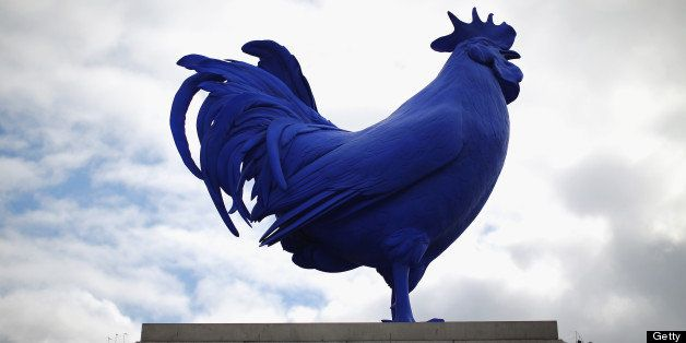 LONDON, ENGLAND - JULY 25:  A blue French cockerel by German artist Katharina Fritsch is unveiled on top of the forth plinth