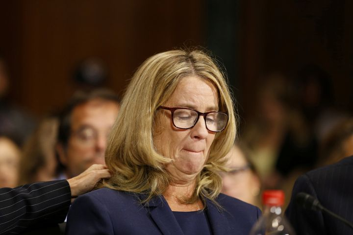 Christine Blasey Ford testifying before the Senate Judiciary Committee in Washington on Sept. 27 about her allegation that Su