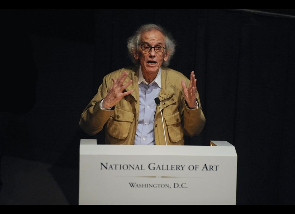 WASHINGTON, DC - NOVEMBER 08: Artist Christo speaks at a press conference unveiling two original preparatory collages for 'Ov