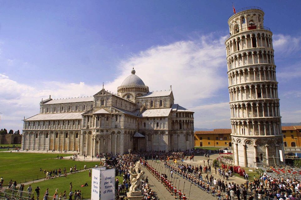 This Saturday, June 16, 2001 file photo shows the Leaning Tower, right, and the Duomo basilica are seen during celebrations f