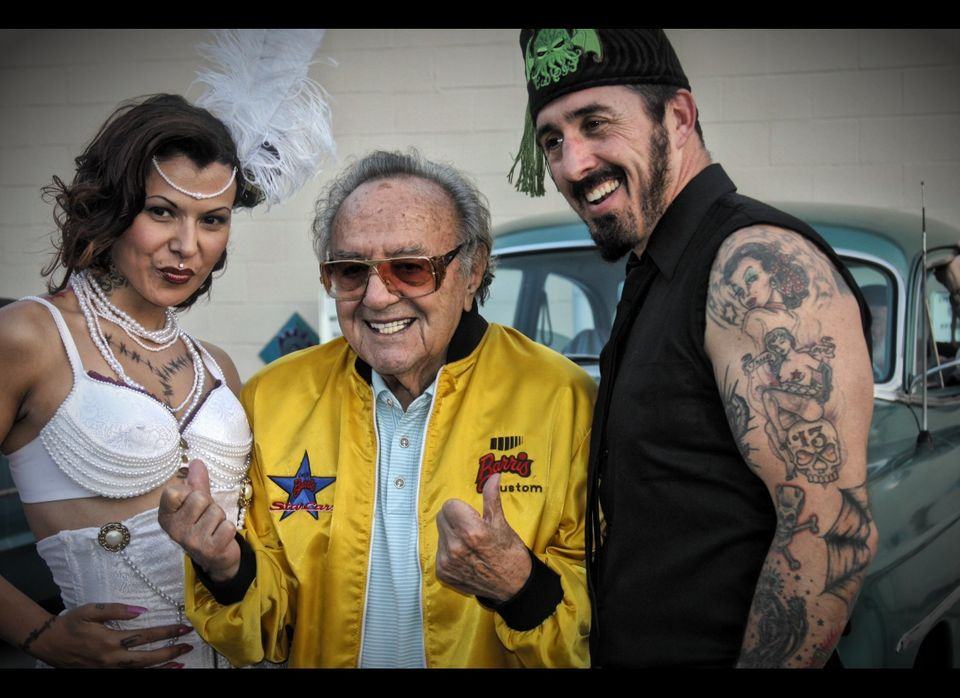 Living Legend and American Pop Culture Hero George Barris is sandwiched between Jimmy Psycho and Sin of The Jimmy Psycho Expe