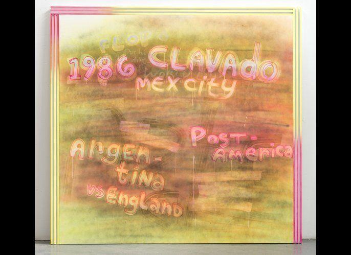 Wendy White, <em>Clavado</em>, 2013  acrylic on canvas, wood, enamel 74.5 x 74.5 inches Image courtesy Wendy White Photo