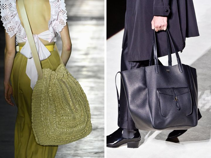 Large totes at Alberta Ferretti (left) and Tom Ford (right).
