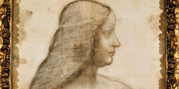ITALY - CIRCA 2002:  Paris, Musée Du Louvre Portrait of Isabella d'Este, ca 1500, by Leonardo da Vinci (1452-1519), black cha