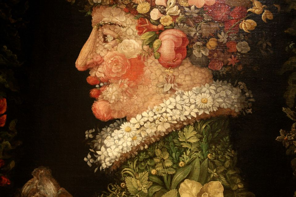 A detail of a painting by Arcimboldo is displayed during the Arcimboldo exhibition press preview held at Palazzo Reale on Feb
