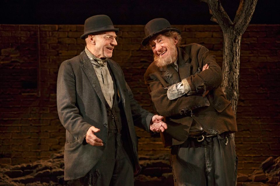 "This photo provided by Boneau/Bryan-Brown shows Patrick Stewart, left, and Ian McKellen in Samuel Beckett's play ""Waiting for"