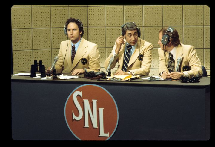 """Christopher Guest, Howard Cosell and John Byner on """"Saturday Night Live with Howard Cosell."""""""