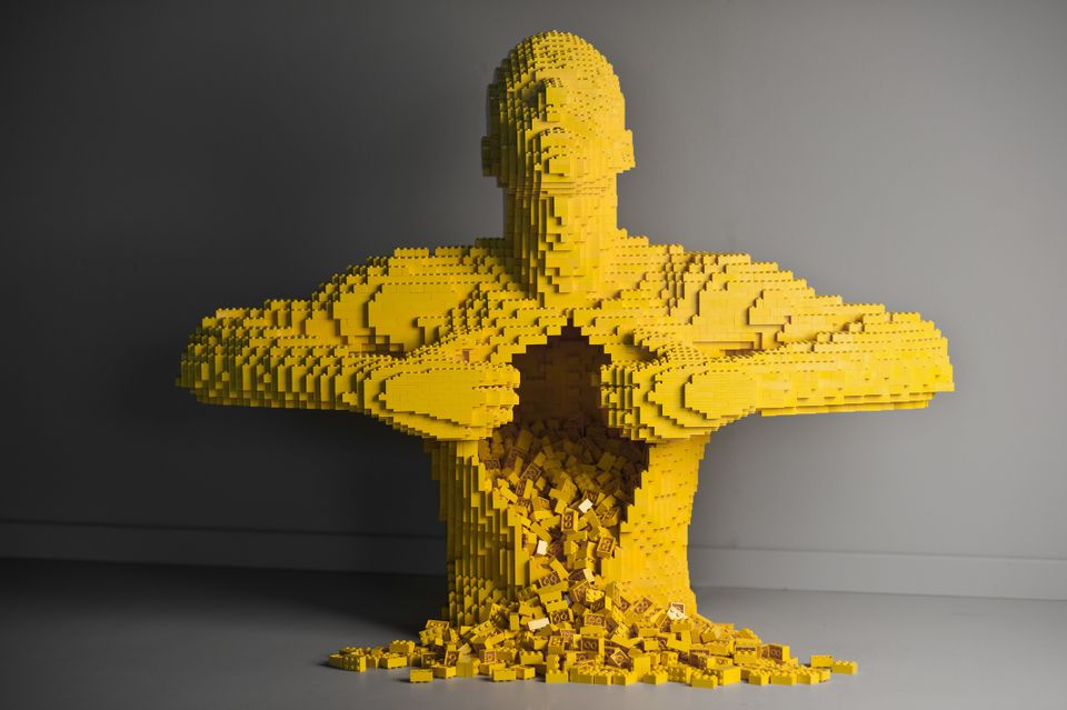 This undated image provided by brickartist.com shows a sculpture made from LEGO pieces by artist, Nathan Sawaya. Beginning Fe