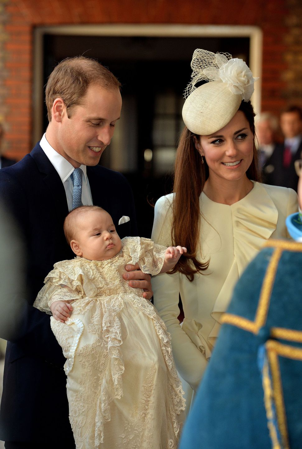 Prince William and Kate Middleton arrive with their son Prince George of Cambridge at Chapel Royal in St James's Palace, ahea