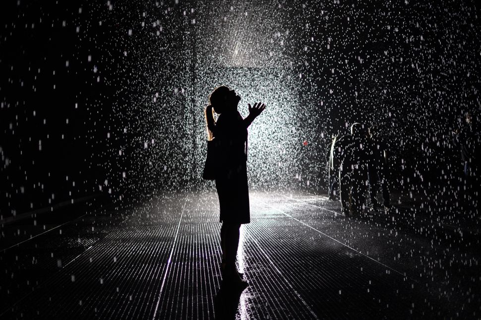 """Visitors gather in the """"Rain Room"""" installation at the Museum of Modern Art. The 5,000 square-foot installation creates a fie"""