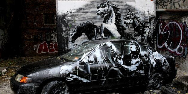 NEW YORK, UNITED STATES  OCTOBER 2013: (SOUTH AFRICA OUT) Street art by British street artist, Banksy during the month of Oct