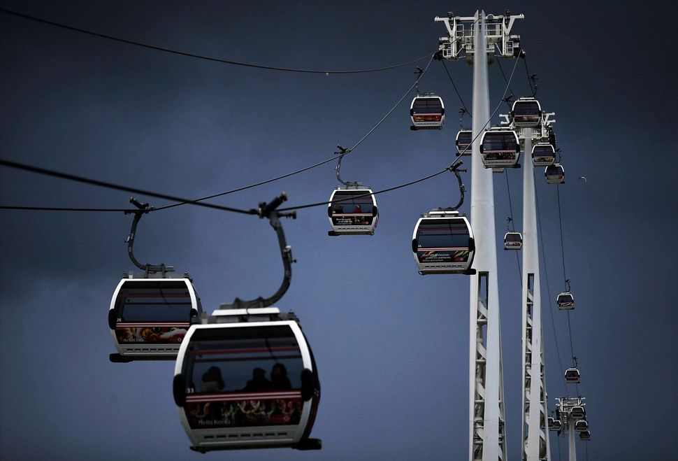 The Emirates Air Line cable car which runs between North Greenwich and Royal Victoria Docks on January 27, 2014 in London, En