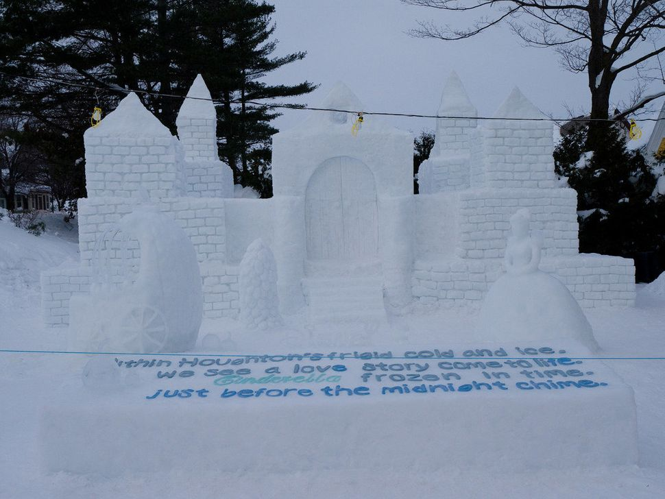 """Alpha Sigma Tau won the sorority division for their sculpture: """"Within Houghton's frigid cold and ice, we see a love story co"""