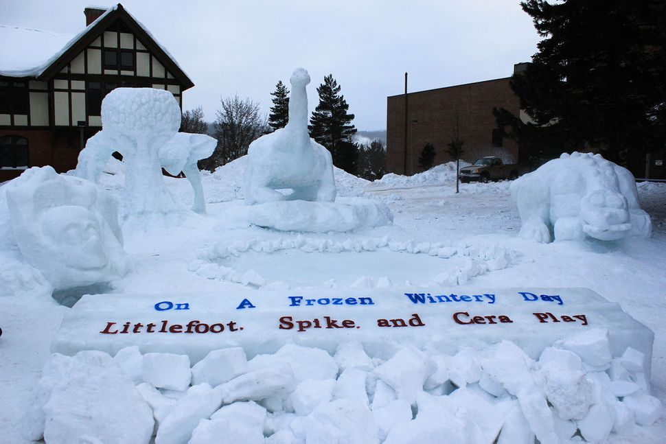 """Army ROTC won the Student Organization group for their scene, """"On a frozen wintery day, Littlefoot, Spike and Cera play."""""""