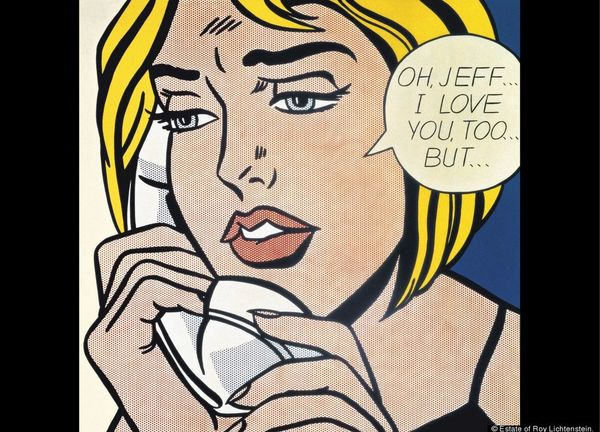 "Roy Lichtenstein, ""Oh, Jeff...I Love You, Too...But..."" (1964). Oil and Magna on canvas. 121.9 x 121.9 cm (48 x 48 in). © Est"