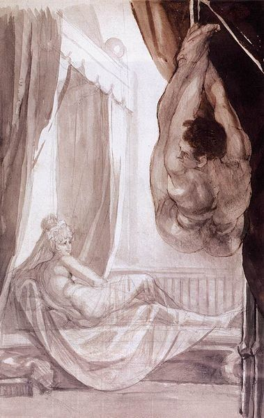 "Henry Fuseli, ""Brunhilde Observing Gunther, Whom She Has Tied to the Ceiling"" (1807). Pencil, pen and ink and wash"