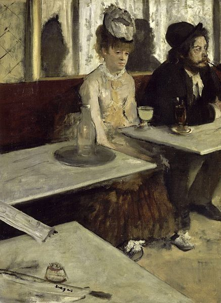 "Edgar Degas, ""In a cafe"" or ""L'Absinthe"" (1873).  Oil on canvas"