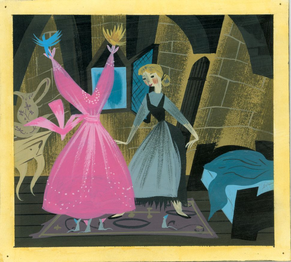 Mary Blair, Concept art of birds and mice showing Cinderella her gown, ca. 1950; gouache; 7.5 in. x 8.25 in. (19.05 cm x 20.9