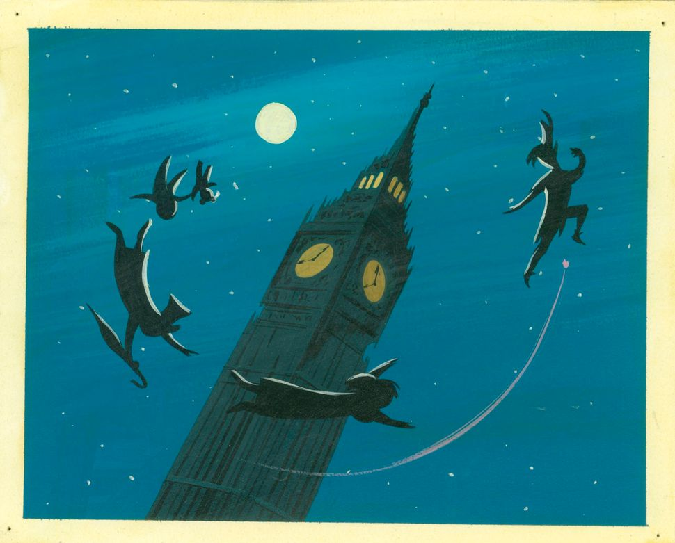 Mary Blair, Concept art of Peter and children silhouetted around Big Ben, ca. 1953; gouache; 6.75  x 8.38 in. (17.15  x 21.27