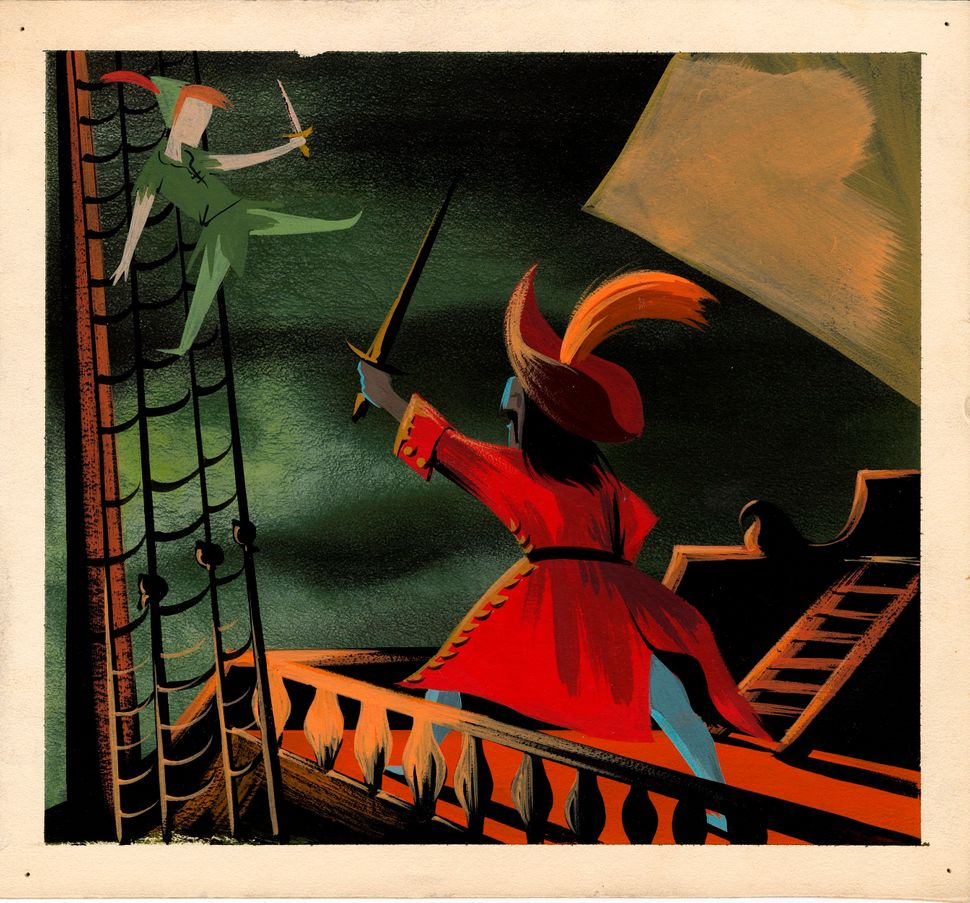 Mary Blair, Concept art of Peter Pan and Captain Hook fighting on ship, ca. 1953; gouache; 8.38  x 9 in. (21.27  x 22.86 cm);