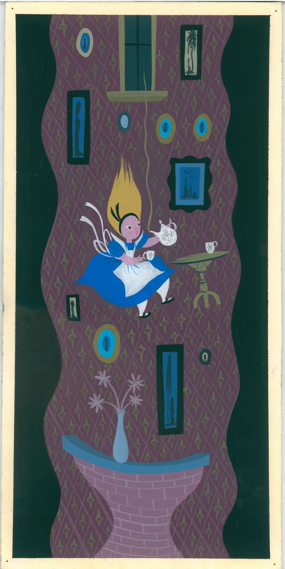 Mary Blair, Alice falling down the rabbit hole, 1951, gouache; 17 x 8.5 in. (43.18 cm x 21.59 cm); Walt Disney Family Foundat