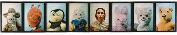 Eight frontal photos rest side by side, most capturing the faces of thrift-store stuffed animals, with one depicting Kelley h