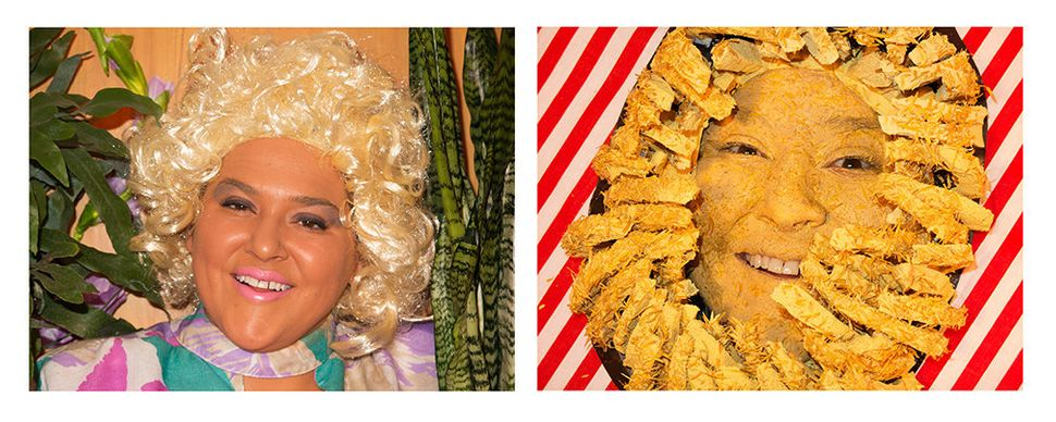 Self-portrait as Anne Burrell/ Self-portrait as Bloomin Onion in Anne Burrell Totally Looks Like an Outback Steakhouse Bloomi