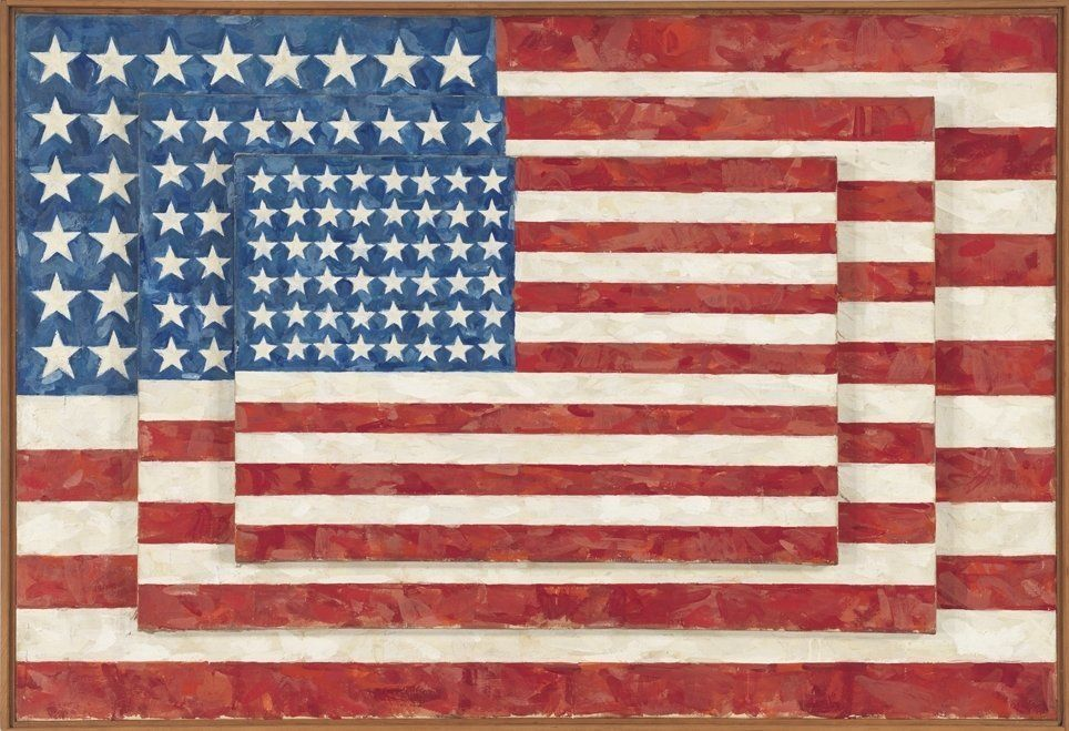 Jasper Johns, Three Flags, 1958. Encaustic on canvas. 30 5/8 x 45 1/2 x 4 5/8 in. Whitney Museum of American Art, New York. A