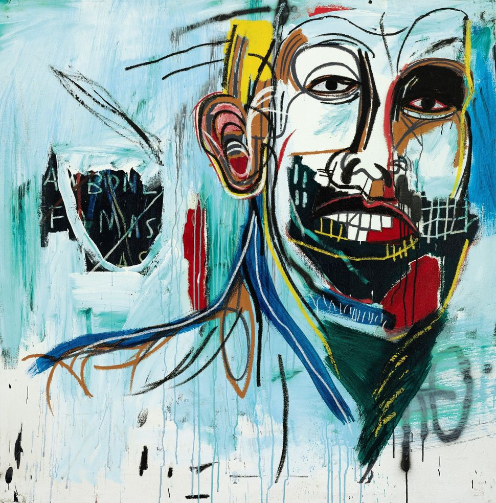 Lot 50, Jean-Michel Basquiat, Untitled, acrylic and oilstick on canvas mounted on wood supports, 60 1/2 x 60 1/2 in. 153.7 x