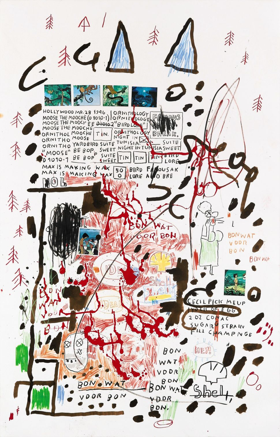 Lot 239, Jean-Michel Basquiat, Untitled graphite, oil stick, acrylic and sticker on paper, 40 3/4 by 26 in. 103.5 by 66 cm. E
