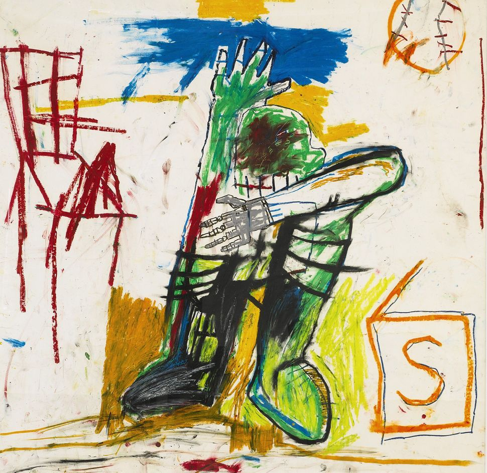 Jean-Michel Basquiat, Untitled, signed on the reverse, acrylic and oilstick on paper mounted to fiberglass, 46 1/2 by 45 1/4