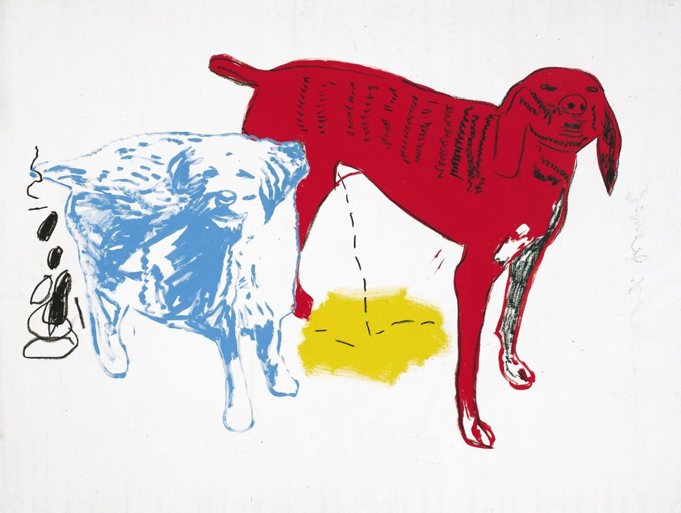 Andy Warhol and Jean-Michel Basquiat, Untitled (Two Dogs), signed by both artists on the reverse, acrylic and silkscreen ink