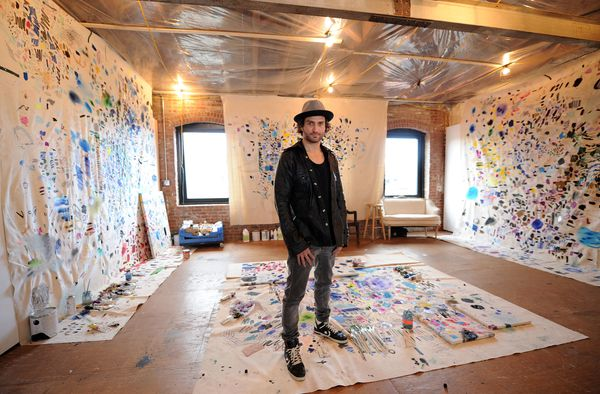 NEW YORK, NY - MAY 04:  Artist Andres Carranza poses at the first annual Village Fete at Pioneer Works on May 4, 2014 in New