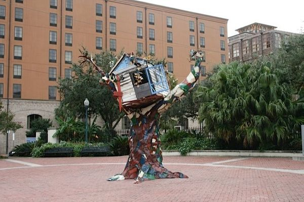 <em>Sally Heller created this piece in the aftermath of Hurricane Katrina, when she was forced to evacuate the city. She used