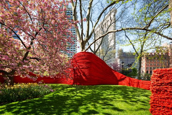 <em>Orly Genger displayed this piece, made entirely out of crocheted rope, in Madison Square Park in New York City last summe