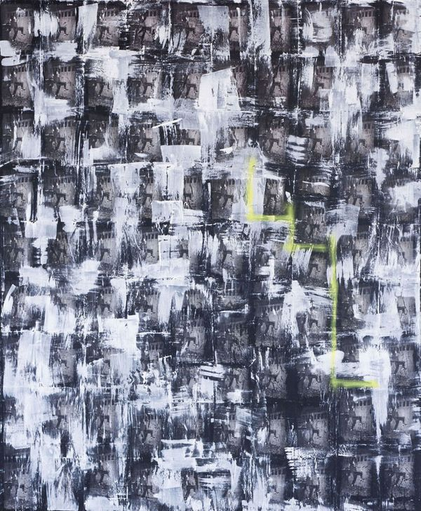 Loop Dingy, 2014, Oil, latex and spray paint on canvas, 102 x 84 inches
