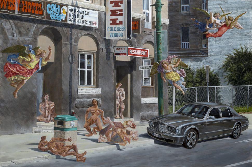"""Le Petit dejeuner sur l'herbe, 84"""" x 126"""", 2014, Acrylic on Canvas"""