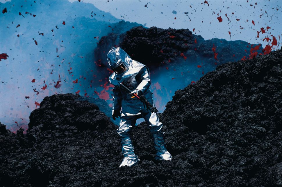 Carsten Peter, Scientist in Thermal Suit Collects Lava, Mt. Etna, Sicily, 2001