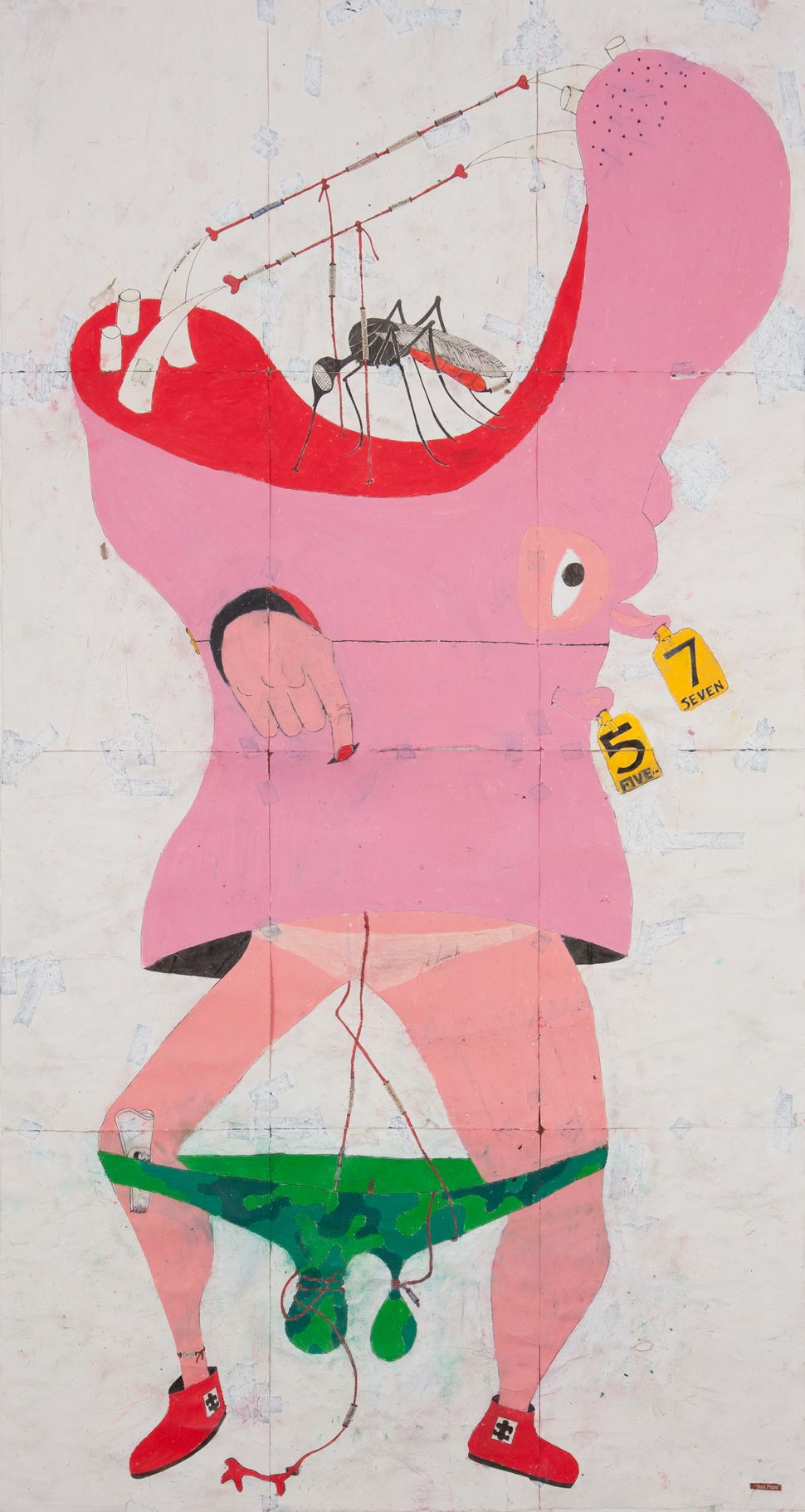 'Don Pepe', 2014 Ink, water-soluble wax pastel, tape, newspaper clippings and saliva on paper 46 1/2 x 24 3/4 inches (118.1 x