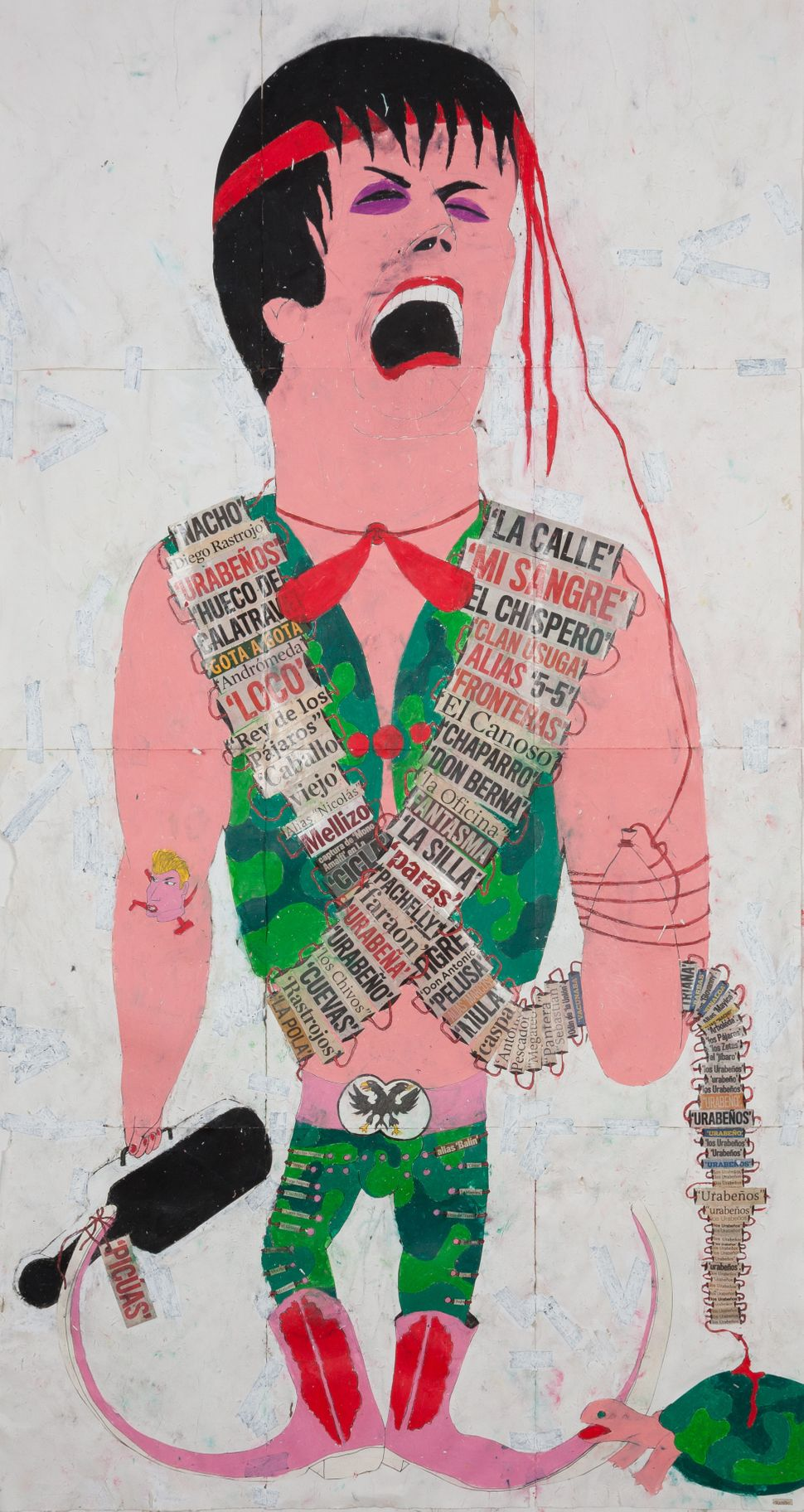 'Rambo', 2014 Ink, water-soluble wax pastel, tape, newspaper clippings and saliva on paper 46 1/2 x 24 3/4 inches (118.1 x 62
