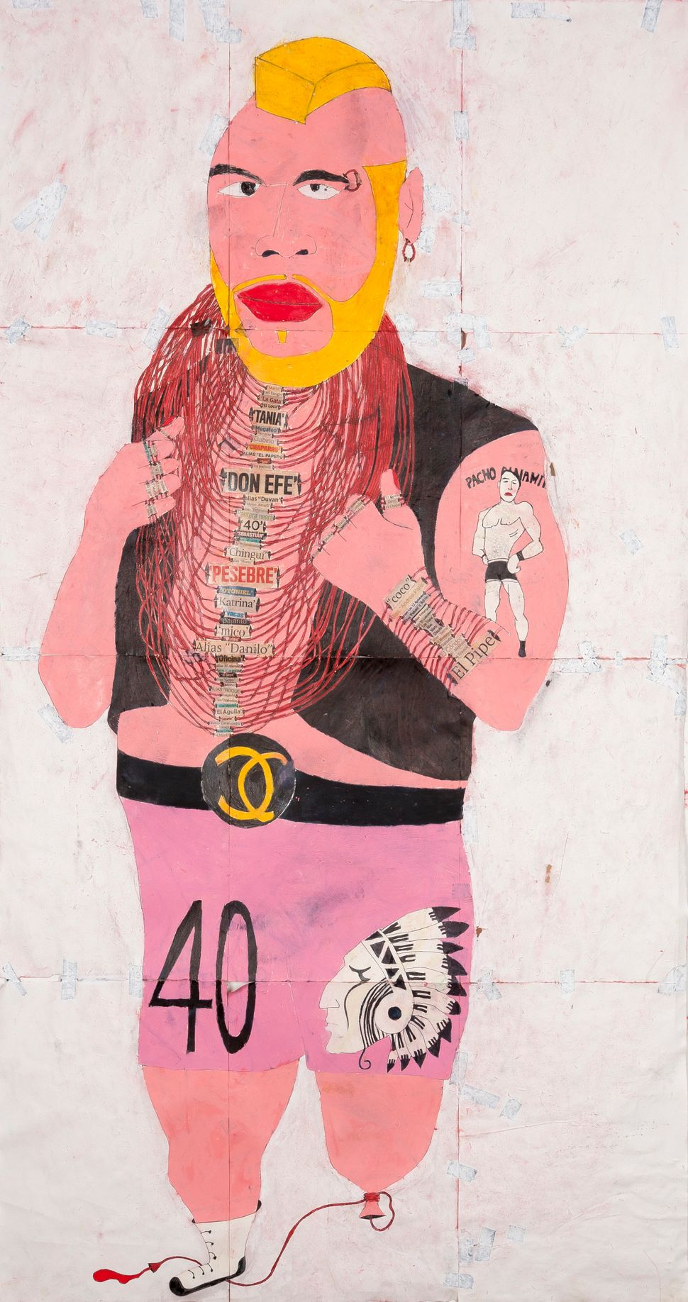 'Don Mario', 2014 Ink, water-soluble wax pastel, tape, newspaper clippings and saliva on paper 46 1/2 x 24 3/4 inches (118.1