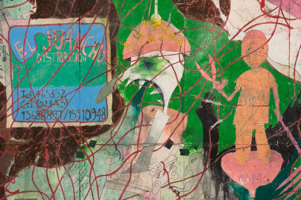 A Land Reform 5, 2014 Ink, water-soluble wax pastel, tape, newspaper clippings, glue, sticker and saliva on paper 81 3/8 x 82