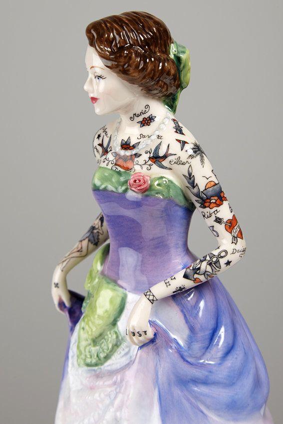 Painted Lady 8, 2014, 20.5 x 12 x 10cm, found ceramic, enamel paint