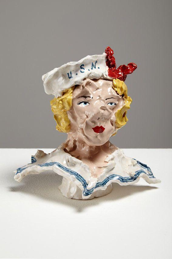 Navy Girl 2, 2014, 14 x 10 x 9cm, ceramic