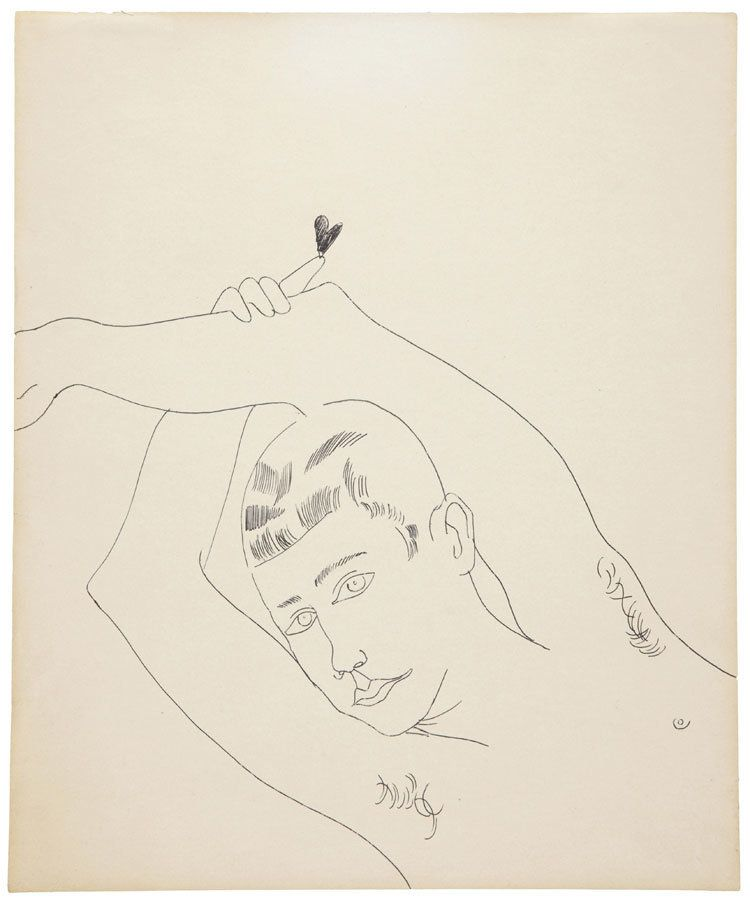 LOT 1, ANDY WARHOL (1928-1987), Young Man with Heart, black ballpoint pen on paper  16¾ x 13 7/8 in. (42.5 x 35.2 cm.), Drawn
