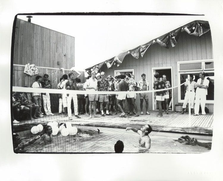 LOT 14, ANDY WARHOL (1928-1987), Fire Island Party, dated 'Aug 02 1982' (on the reverse), unique gelatin silver print, 8 x 10