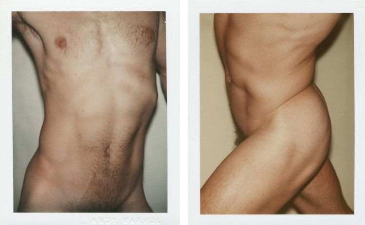LOT 24, ANDY WARHOL (1928-1987), Nude Male Model, two unique polaroid prints each: 4¼ x 3 3/8 in. (10.8 x 8.6 cm.), Executed