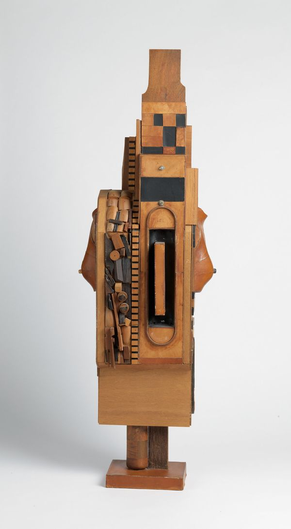 Noah Purifoy, Untitled (Standing Figure), assemblage construction, circa 1968-70. Estimate $60,000 to $90,000.