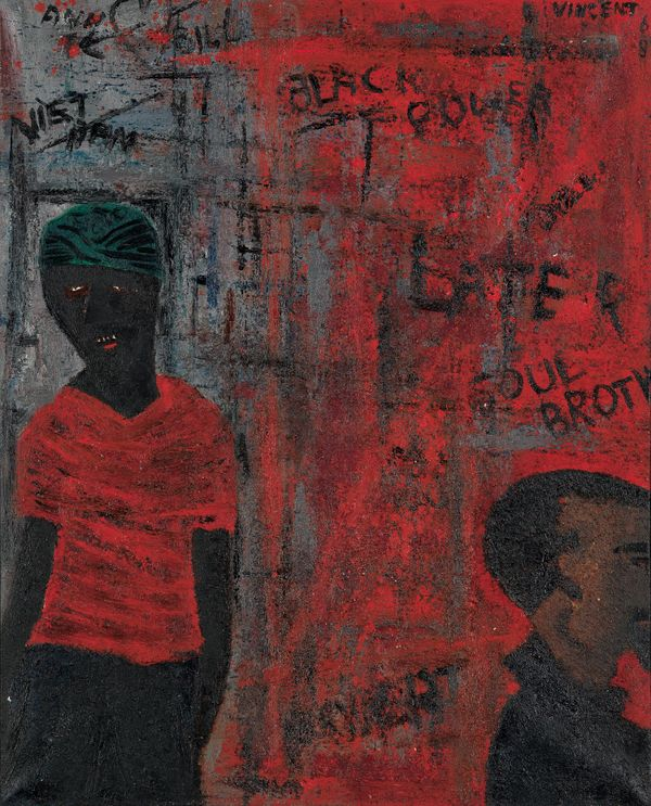 Vincent D. Smith, Do-Rag Brother, oil and sand on canvas, 1968. Estimate $10,000 to $15,000.